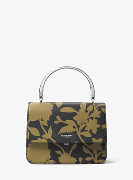Michael Kors Kylie Small Floral Leather Top-Handle Bag - GREEN - STYLE