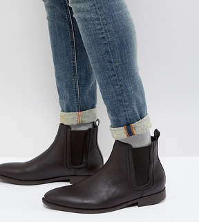 Asos DESIGN Wide Fit Chelsea Boots In Brown Faux Leather With Panel Detail