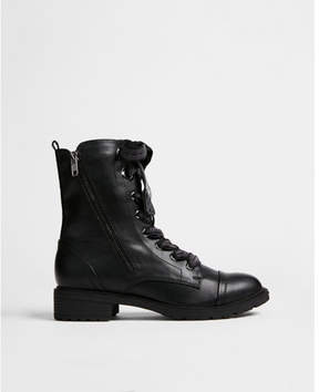 Express flat heel lace-up lug boot