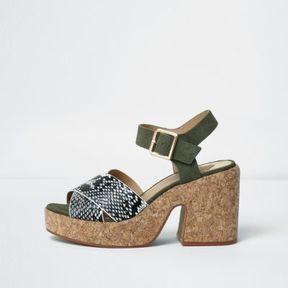 River Island Womens Khaki snake strap cork block heel sandals