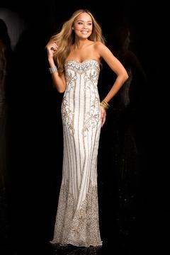 SCALA - 48685 Encrusted Long Prom Dress