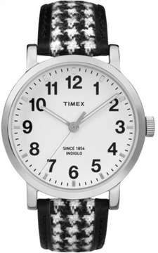 Timex Originals Houndstooth Strap w Leather Trim Indiglo | Casual Unisex Watch