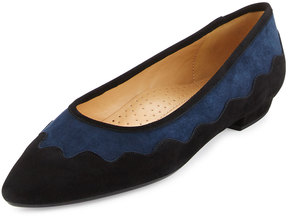 Neiman Marcus Gowyn Suede Scalloped Flat, Navy/Black