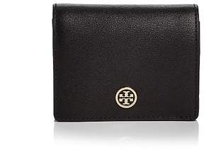 Tory Burch Parker Foldable Mini Leather Wallet - BLACK/GOLD - STYLE