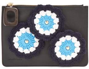 J.W.Anderson Daisies Crochet Leather Pouch - Womens - Black Multi