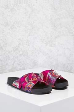 Forever 21 Satin Floral Crisscross Sandals