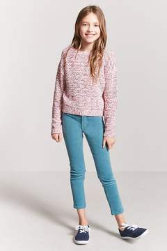 Forever 21 Girls Multicolor Marled Sweater-Knit Top (Kids)