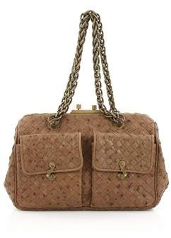 Bottega Veneta Pre-owned: Pocket Frame Shoulder Bag Intrecciato Ostrich Medium.