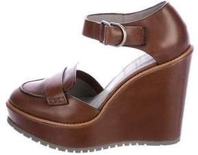 Brunello Cucinelli Leather Platform Wedges