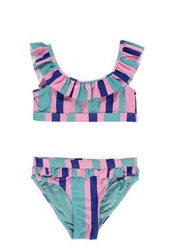 Forever 21 Girls Striped Ruffle Bikini Set (Kids)