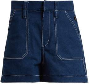 Chloé Contrast-stitch high-rise denim shorts