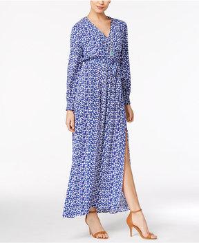 ECI Mixed-Print Faux-Wrap Maxi Dress