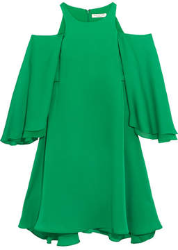 Halston Cold-shoulder Ruffled Twill Mini Dress - Green