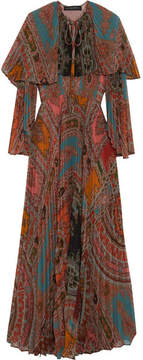 Etro Cape-back Pleated Printed Georgette Maxi Dress - Blue