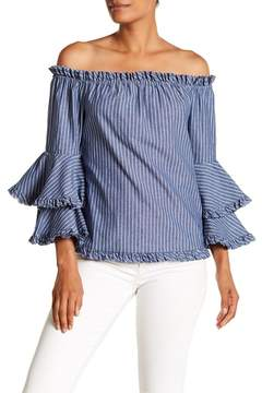 ECI Off-the-Shoulder Bell Sleeve Stripe Print Blouse