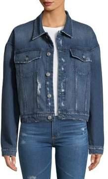 Hudson Rei Cropped Lace-Up Denim Jacket
