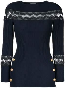 Alberta Ferretti lace panel and button detail sweater