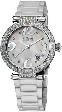 Burgi Women's Women's White, Mother Of Pearl, & Crystal Watch