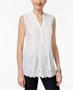 Style&Co. Style & Co Petite Cotton Striped Eyelet Top, Created for Macy's