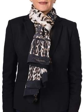 Roberto Cavalli Women's Leopard Skin Patterned Silk Scarf Brown.