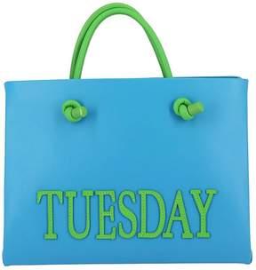 Alberta Ferretti Handbag Shopping Bag Rainbow Week Small In Leather With Maxi Lettering Tuesday