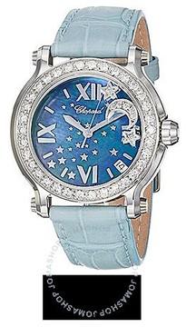 Chopard Happy Sport Blue MOP Dial Blue Leather Floating Diamond Moon Ladies Watch