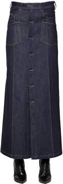 Diesel Black Gold Button Long Denim Skirt