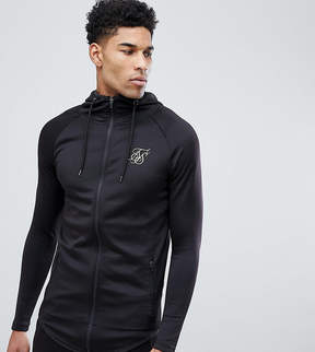 SikSilk TALL Track Hoodie In Black With Gold Logo Exclusive to ASOS