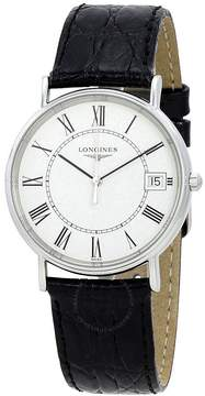 Longines Presence White Dial Black Leather Men's Watch L48194112