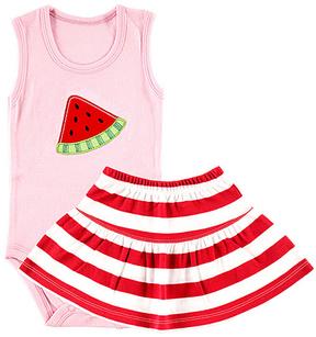 Hudson Baby Pink Watermelon Sleeveless Bodysuit & Skirt
