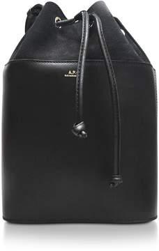 A.P.C. Black Smooth Leather and Nubuck Clara Bucket Bag