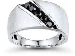 Black Diamond FINE JEWELRY Mens 1/2 CT. T.W. Color-Enhanced 10K White Gold Comfort Fit Ring