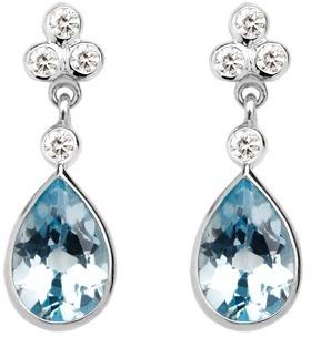 Aspinal of London Aphrodite Teardrop Aquamarine Diamond Earrings