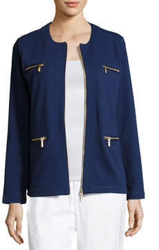 Joan Vass Stretch Interlock Zip-Front Jacket