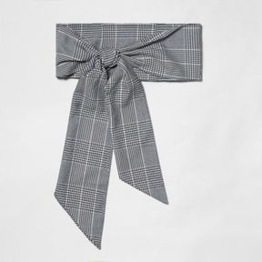 River Island Womens Grey check tie front belt