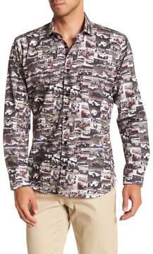 Jared Lang Racing Car Patterned Woven Shirt