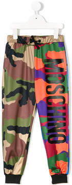 Moschino Kids logo printed camouflage joggers