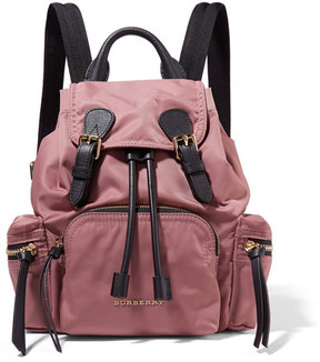 Burberry Small Leather-trimmed Gabardine Backpack - Pink - PINK - STYLE