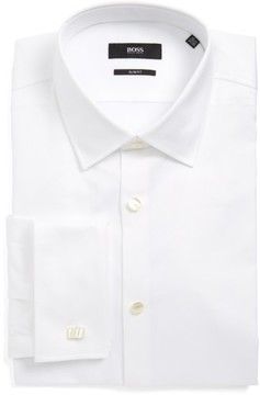 BOSS Men's Jameson Slim Fit Diamond Weave French Cuff Tuxedo Shirt
