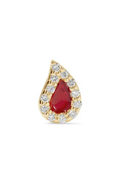 Alison Lou Blood Drop Enameled 14-karat Gold Diamond Earring