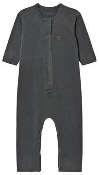 Bobo Choses Dark Grey Fish Print Fleece Jumpsuit
