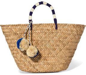 Kayu - St Tropez Pompom-embellished Woven Straw Tote - Beige