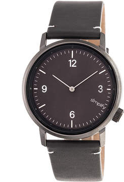 Simplify Black & Charcoal The 5500 Leather-Strap Watch