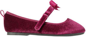 Joe Fresh Toddler Girls' Velvet Ballet Flats, Bordeaux Red (Size 7)