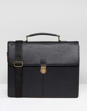 Asos Leather Satchel In Black
