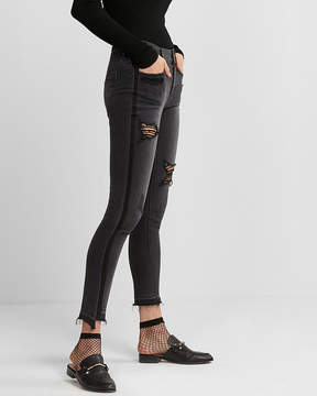 Express Mid Rise Black Striped Distressed Stretch Jean Ankle Leggings