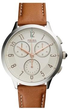 Fossil Women's 'Abilene' Chronograph Leather Strap Watch, 34Mm
