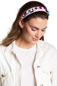 Cara Accessories Faux Leather Geometric Beaded Headband
