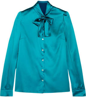 Dolce & Gabbana Pussy-bow Silk-blend Satin Blouse - Turquoise