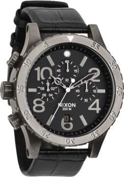 Nixon 48-20 Black Leather Quartz Analog Men's Watch A363-1886